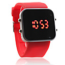 silikon bant kadınların erkeklerden unisex jelly spor stil kare ayna liderliğindeki kol saati - kırmızı