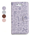 Cartoon Pattern PU Leather Case for iPhone 4 (Assorted Colors)