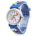 Children's Letters Pattern Blue Silicone Band Quartz Analog Wrist Watch