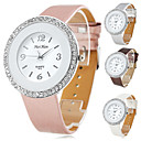 Women's Silver Crystal Case PU Band Quartz Wrist Watch (Assorted Colors)