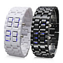 Couple's Blue LED Lava Style Plastic Band Digital Wrist Watches (Black & White, 1-Pair)
