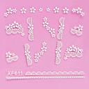 4PCS 3D White Lace Nail Stickers Cartoon Gridding