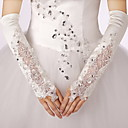Buy Elbow Length Fingerless Glove Satin Lace Bridal Gloves Party/ Evening Spring Fall Winter Rhinestone