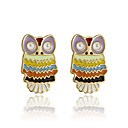 PlusMinus Colorful Owl Stud Earrings For Women+ Gift Box