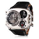 Analoge, Quartzuhr mit Mehrfach-Uhrwerk für Herren im Kompass-Look, PU-Armband (2 Zeitzonen, schwarz)