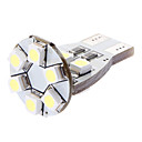 T15 1W 12x3528SMD White Light LED Bulb för Car Turn Signal / sidomarkeringslykta (DC 12V)