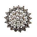 Silver Plated Alloy Zircon Pearl Round Pattern Brooch