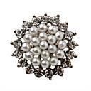 Silver Plated Zircon de la aleación de la perla redonda del patrón Broche