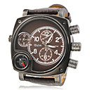 Men's Military Style Dual Time Zones Brown PU Band Quartz Wrist Watch