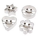 4 sæt Stainless Steel Face Kombination Suit Cookies Mold