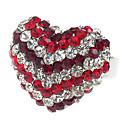 Cristal Jolie autrichien anneau découpé de coeur (rouge)