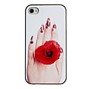 Kutsuva Hand Rose Ring Pattern PC Hard Case Musta Kehys iPhone 4/4S