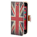 Vintage Union Jack Pattern PU Full Body Case-korttipaikka ja teline iPhone 5C