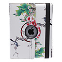 Estilo chinesa bonita Peony and Bird Padrão 360 graus Rotatable PU Leather Case Full Body com suporte para iPad 2/3/4