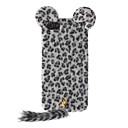 Trendy Leopard Print Flocking Hard Case with Fluffy Tail and Cute Mouse Ears for iPhone 5/5S