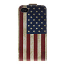 America National Flag Pattern PU Leather Full Bady Case for iPhone 4/4S