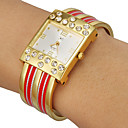Women's Diamante Rectangle Dial Alloy Band Quartz Analog Bracelet Watch (Assorted Colors)