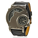 Men's Dual Time Zones Big Round Dial PU Band Quartz Analog Wrist Watch