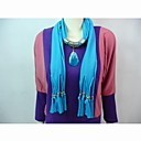 Polyester Cotton Blue Stone Pendant Scarf  Necklace