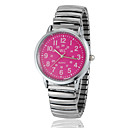 Women's Pink Dial Bottom Round Dial Alloy Band Quartz Analog Fashion Watch