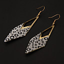 Fashion Leopard Stripe Hollow Triangle Shape Silver Silver Plated Drop Earrings (1 Pair)