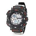 Men's LCD Round Dial Rubber Band Quartz Analog Sport Watch (Assorted Colors)