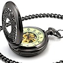 Miesten Perspective Round Hollow All Black valovoima soittaa Mechanic Skeleton Pocket Watch