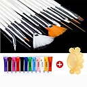 28PCS Acrylic Painting Nail Art Suit(12 Color Nail Art Paints 15 PCS Nail Art Brush 1 Random Color Palette)