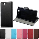Litchi Grain Pattern Hard Case with Magnetic Snap and Card Slot for Sony Xperia Z/L36h (Assorted Colors)