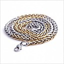 Buy Men's Fashion Match Gold Silver Titanium Steel Chain Necklace