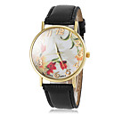 Women's Flower Pattern Dial Gold Case Rim PU Band Quartz Wrist Watch(Assorted Colors)