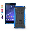 dual-color blokkerings avtakbar 2 i en pc og tpu hybrid sak med stativ for Sony Xperia Z2 (assorterte farger)