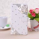 DIY Beauty Camellia with Rhinestone Pattern Litchi Texture Full Body Leather Case for LG G2 mini