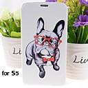 cartoon honden patroon pu leer full body case met standaard voor Samsung Galaxy i9600 s5