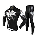 FJQXZ Men's 3D Slim Cut Wolf Breathable Long Sleeve Cycling Suit - White + Black