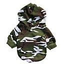 Camouflage  Pattern 100% Cotton Hooded T-shirt for Dogs (Green XS-L)
