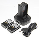 Dual Charger Ladestasjon Dock og to batterier for Xbox 360 (UK Plug)
