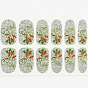 12PCS Full Size Cover False Nail Art Stickers Decals Tips Wraps Gold Flower Silver Glitter for Nail Art Decorations
