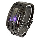 Men's LED Three Rows of Lights Steel Band Lava Table Wrist Watch(Assorted Colors)