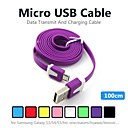 1M V8 Micro USB Noodle Data Cable for Samsung Galaxy S5/S4/S3/S2 and HTC/Nokia/Sony/LG (Assorted Colors)