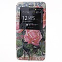Roses Pattern PU Leather Cover with View Window for iPhone 6 Plus