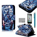 Buy COCO FUN® Blue Wolf Pattern PU Leather Full Body Case Screen Protector, Stand Stylus iPhone 4/4S