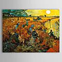 pintados a mano la viña roja en Arles, 1888 óleo de Vincent van Gogh con marco se extendía