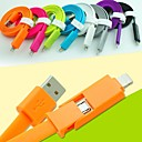 2 in 1 USB to 8 Pin/MicroUSB Charging Sync Data Flat Cable for iPhone5/5S/6/6 Plus/Samsung 1M 3.3FT