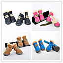 Dog shoes/Dog boots-XS/S/M/L/XL-Winter-PU/Suede Furry-Brown/Black/Blue/Green/Pink
