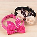 Buy Cat / Dog Collar Adjustable/Retractable Bowknot Red Black Blue Pink Yellow Purple PU Leather