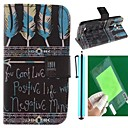Tribal Feather Design PU Leather Full Body Case with Screen Protector, Stylus and Stand for LG L80