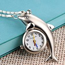 Women's Dolphin Shaped Case Alloy Quartz Necklace Watch