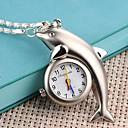 여성의 돌고래 모양의 경우 합금 석영 목걸이 시계