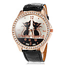 Buy Women's Big Round Diamante Case Cat Pattern Dial PU Band Quartz Wrist Watch (Assorted Colors) Cool Watches Unique Fashion